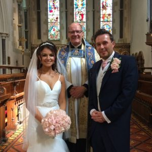 Bride & Groom and Father Chrichton
