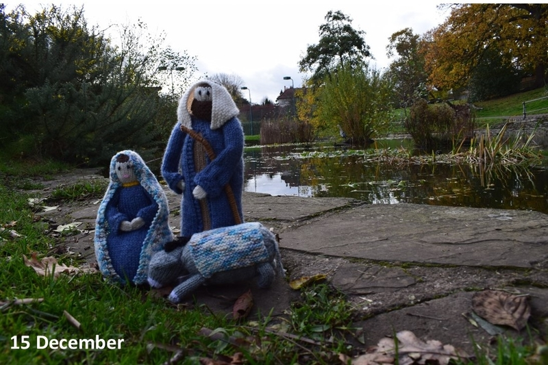 Mary and Joseph by the pond