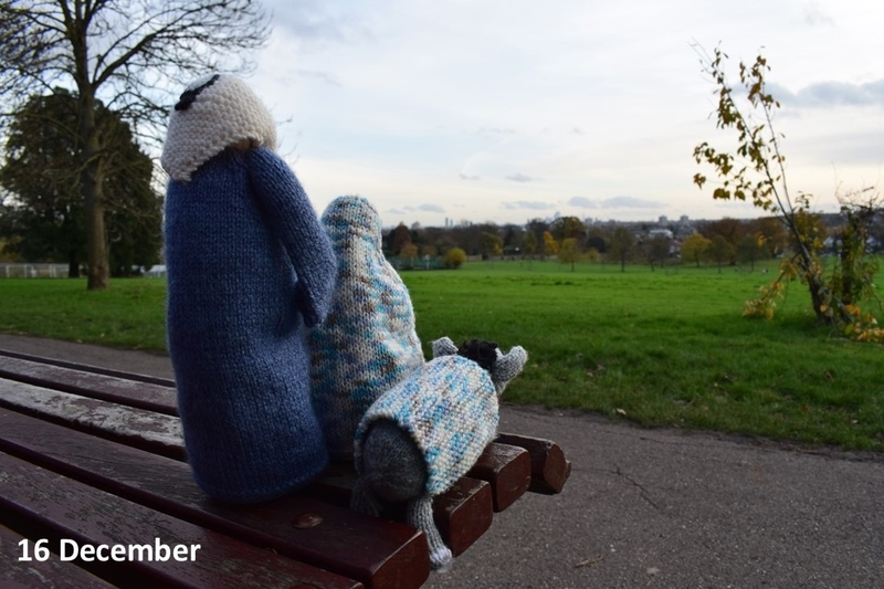 Mary and Joseph on a bench